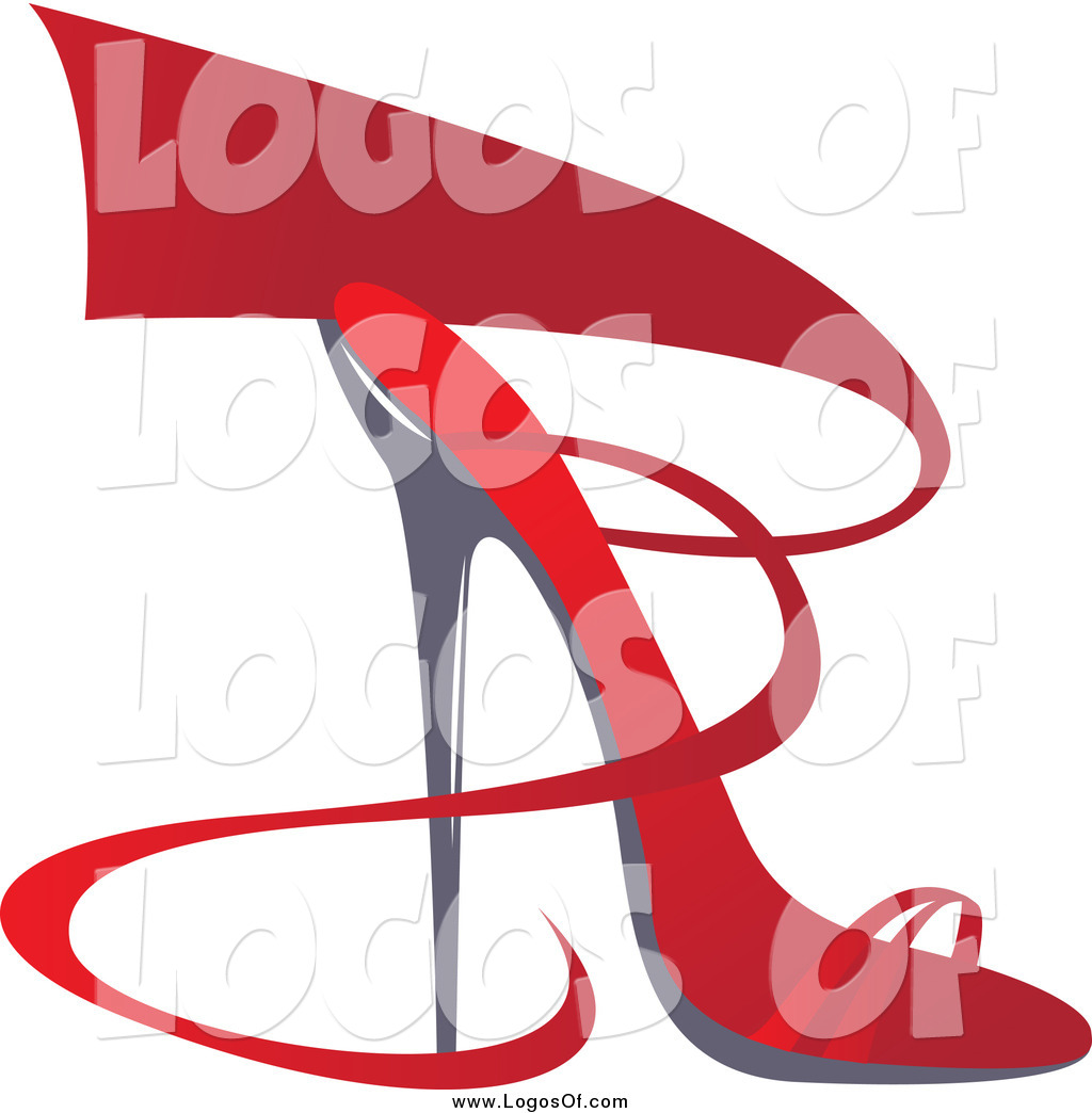 1024x1044 Vector Clipart of a Red Ribbon and High Heel Shoe Logo by Eugene