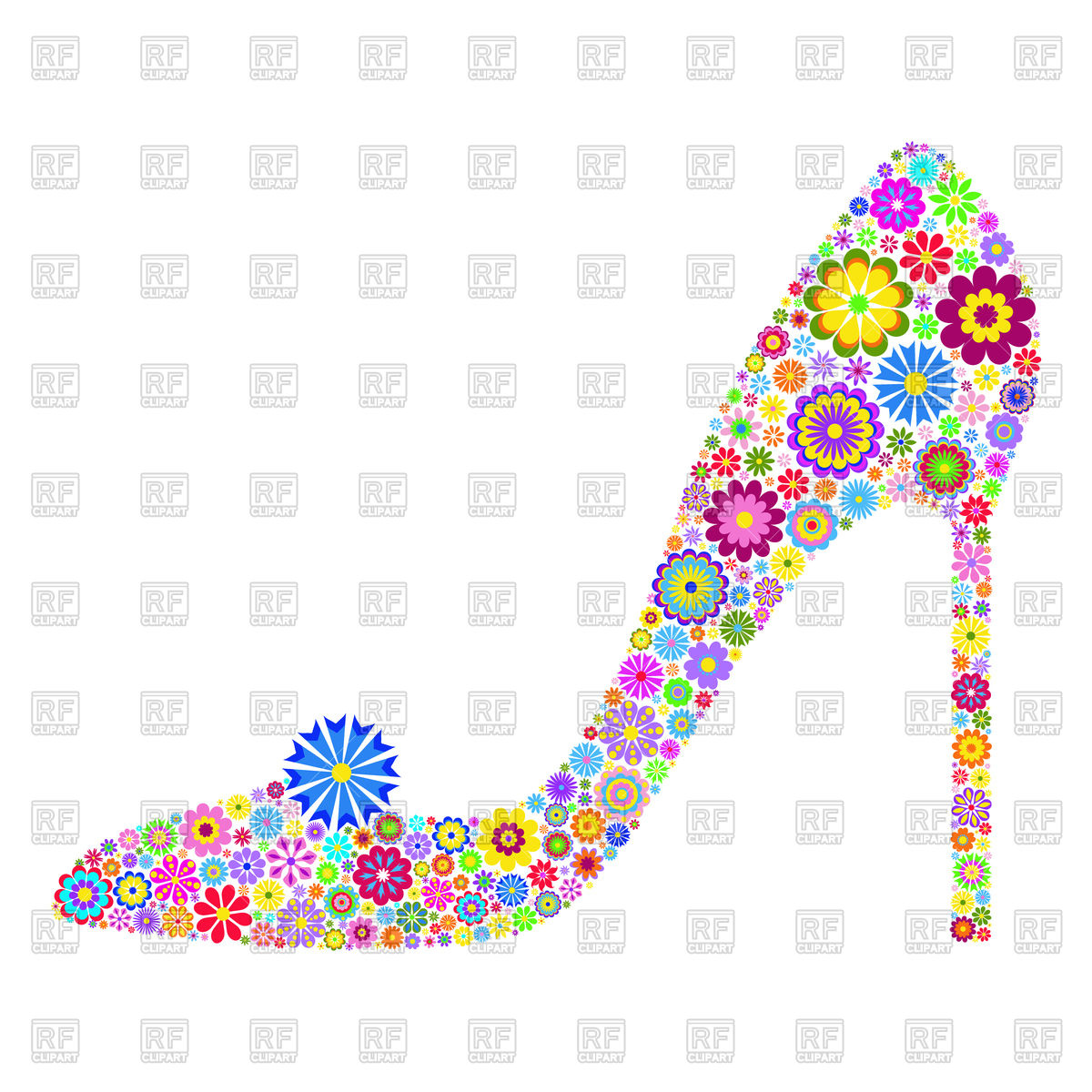 1200x1200 Floral shoe on high heel Royalty Free Vector Clip Art Image