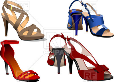 400x288 Fashion Women High Heel Shoes And Sandals Royalty Free Vector Clip