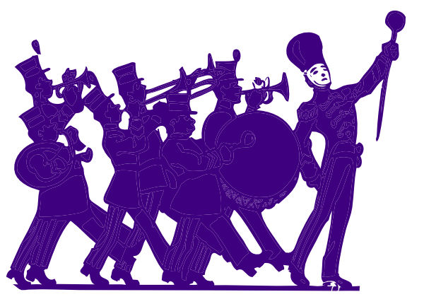600x430 Marching Band Purple On White Clip Art