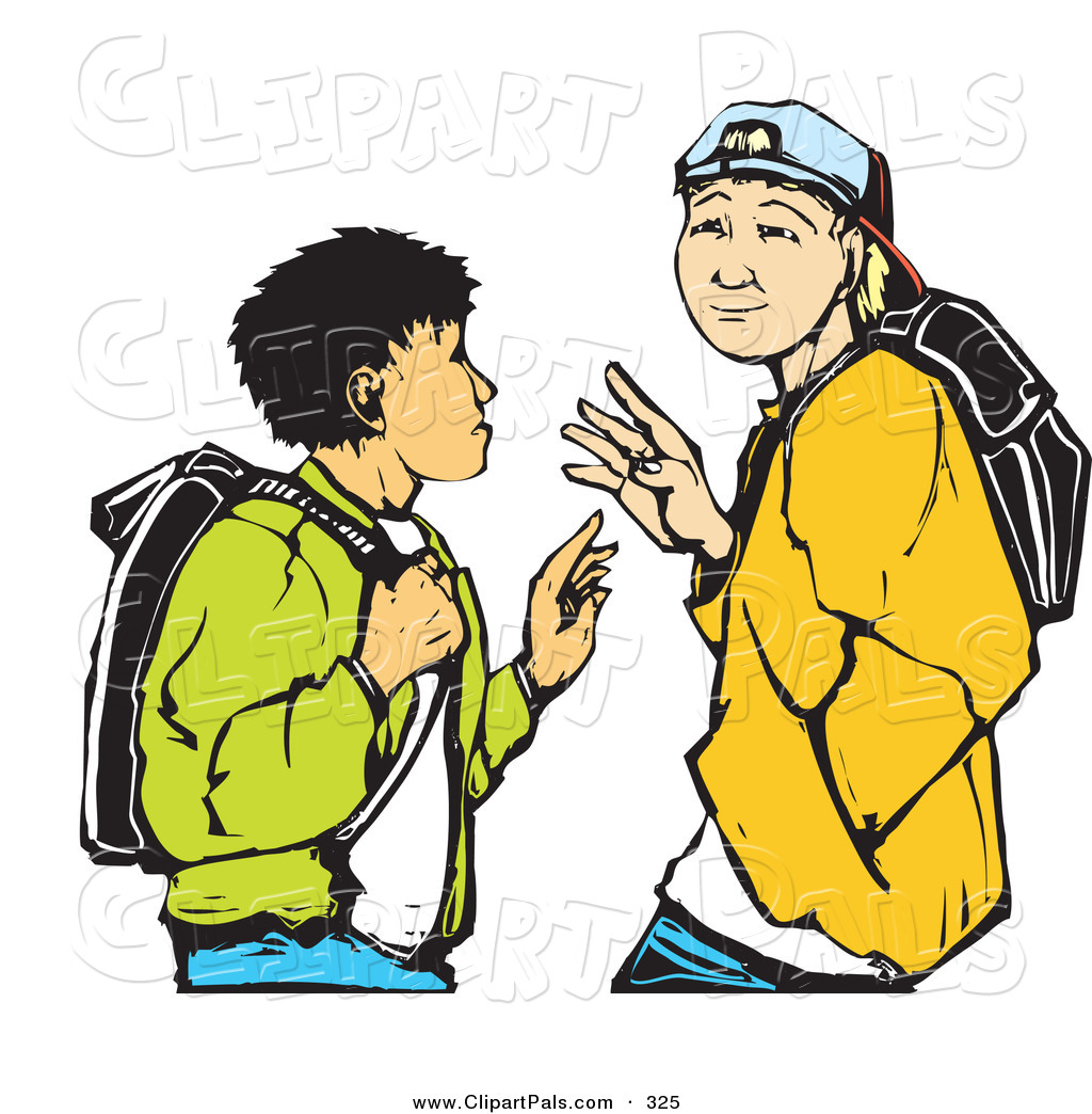 1024x1044 Pal Clipart of a Pair of High School Boys Waving While Passing
