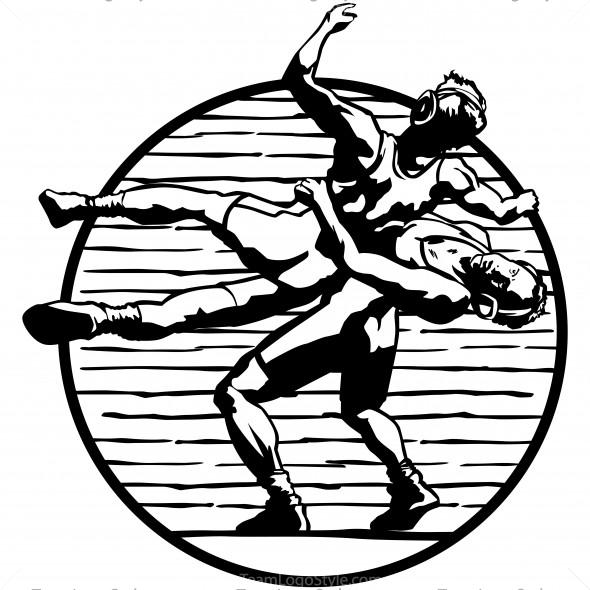 590x590 Wrestling Clip Art Black White Free Clipart Images 3