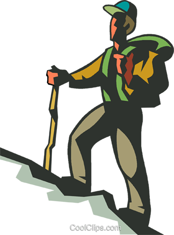 355x480 Man Hiking Up Hill Royalty Free Vector Clip Art Illustration