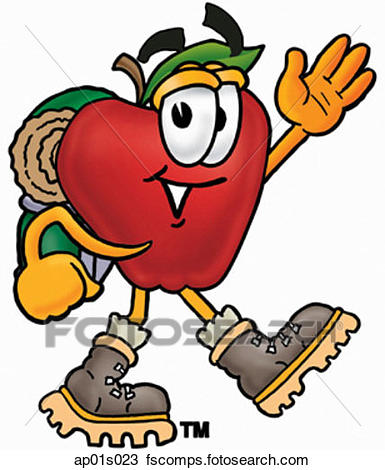 385x470 Clipart Of Apple Hiking Ap01s023