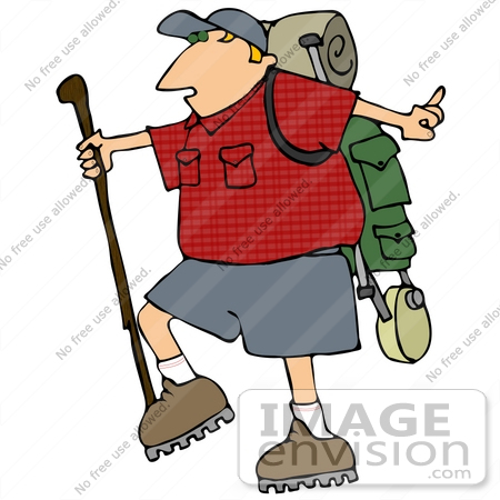 450x450 Man Carrying Hiking Gear And Using A Hiking Stick While Hiking