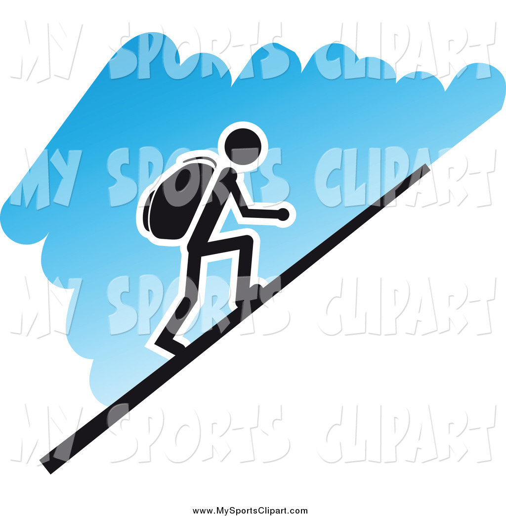 1024x1044 Sports Clip Art Of A Hiker Going Up A Steep Hill, Over Blue By