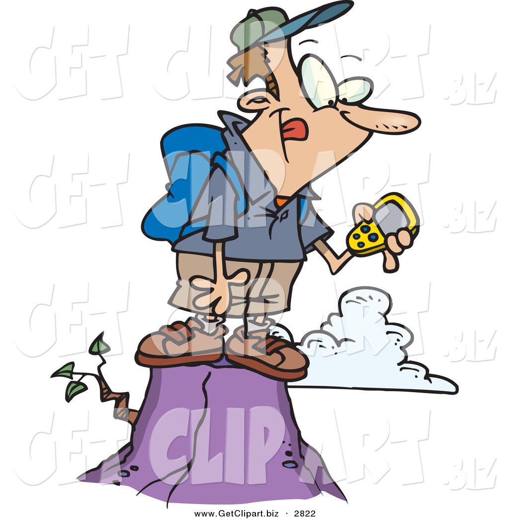 1024x1044 Clip Art Of A Hiker Man On Top Of A Mountain, Using A Gps Over