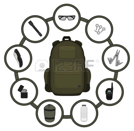 450x442 Traveler Backpack Contents. Tourism Objects In Round Frame. Vector