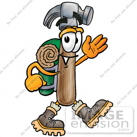 450x450 Clip Art Graphic Of A Hammer Tool Cartoon Character Hiking