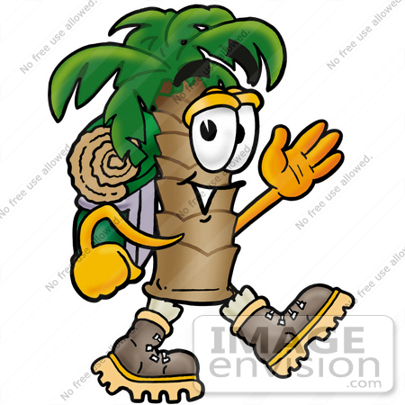 450x450 Clip Art Graphic Of A Tropical Palm Tree Cartoon Character Hiking