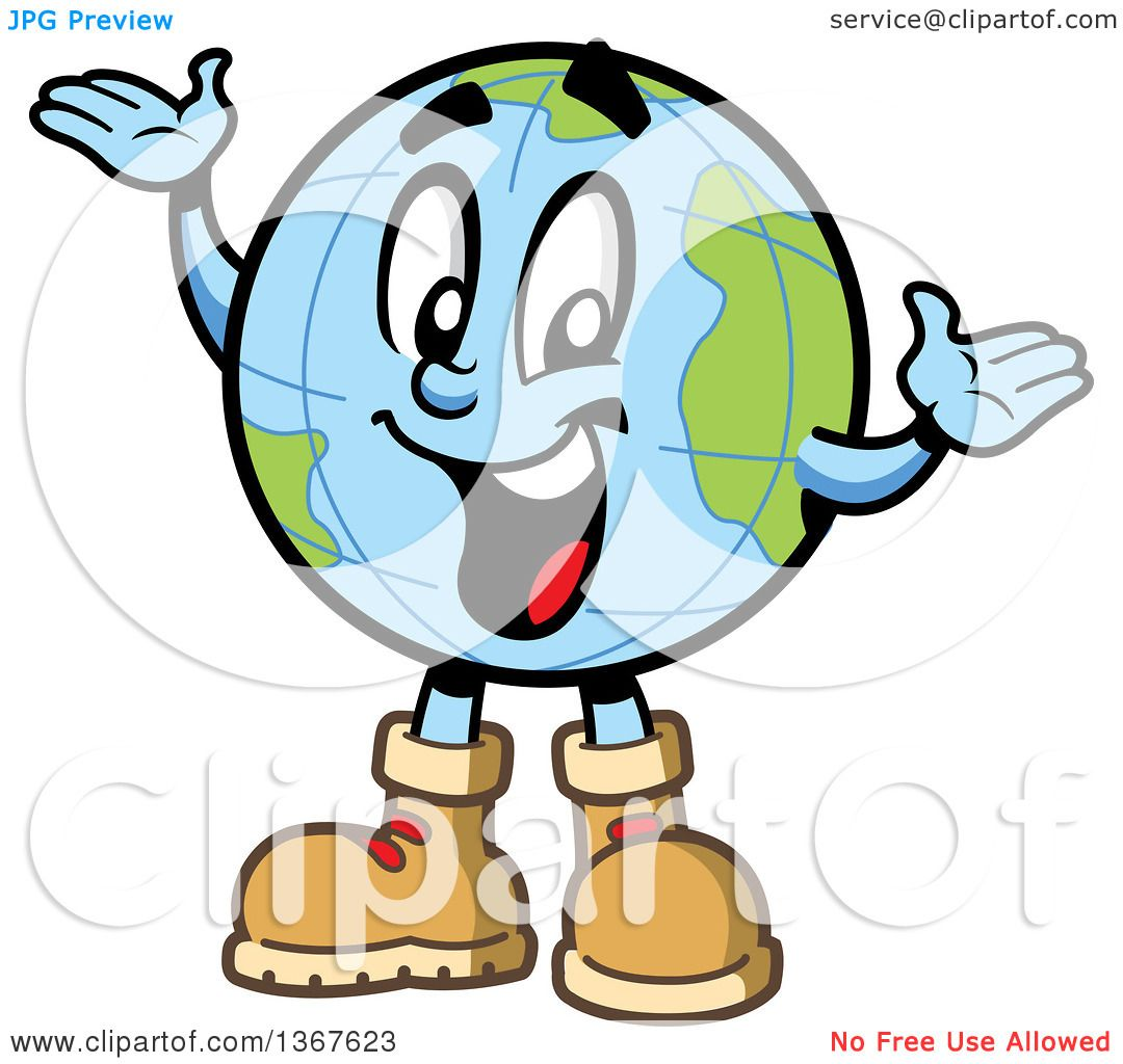 1080x1024 Clipart Of A Cartoon Happy Desk Globe Mascot Wearing Hiking Boots