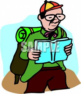 261x300 Nerdy Man Reading A Map While Hiking Clipart Picture