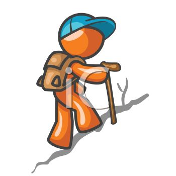 350x350 Orange Man Character Hiking Up A Hill