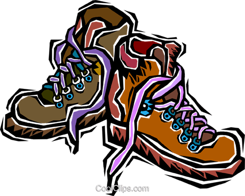 480x384 Hiking Boots Royalty Free Vector Clip Art Illustration Vc006359