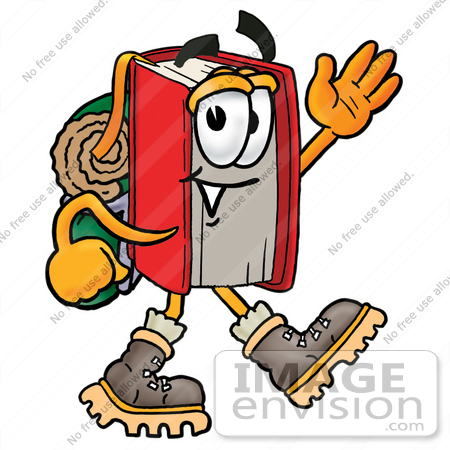 450x450 Cliprt Graphic Of Book Cartoon Character Hikingnd Carrying