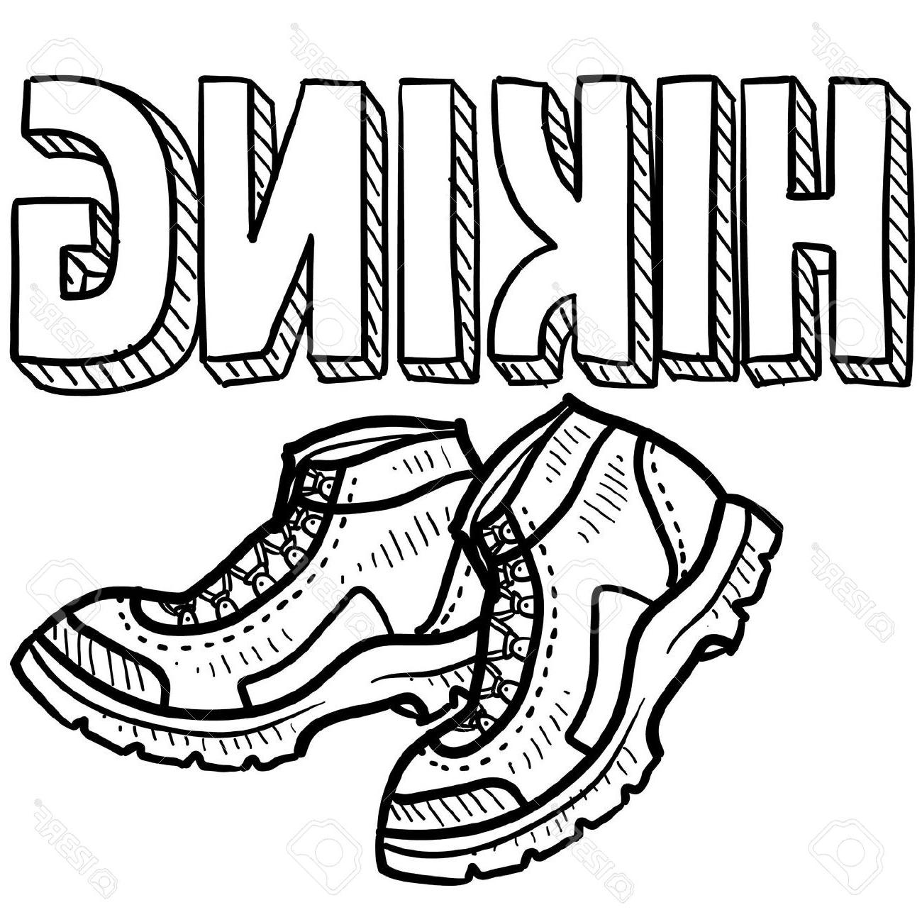 1300x1300 Best Free Boot Coloring Page Hiking Boots Clipart Black And Images
