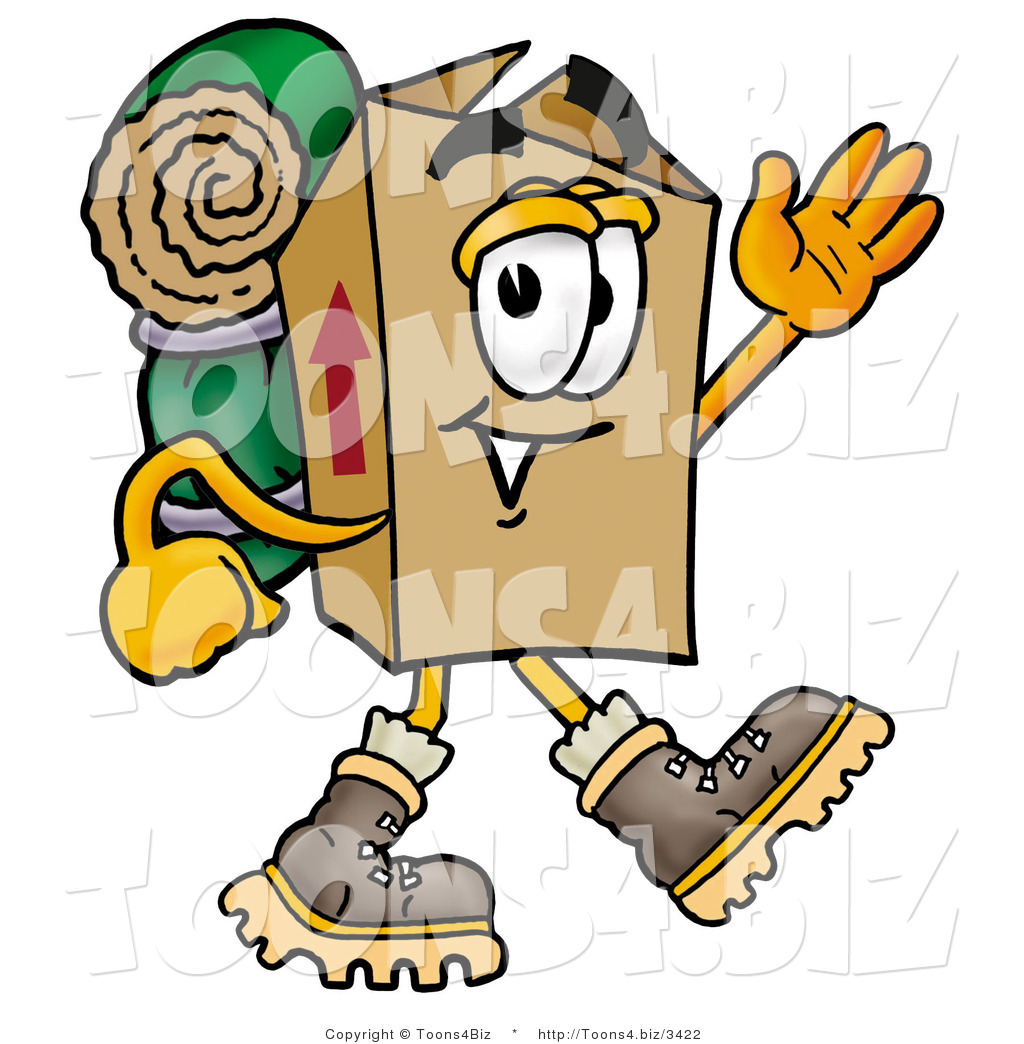 1024x1044 Illustration Of Cartoon Packing Box Mascot Hikingnd Carrying