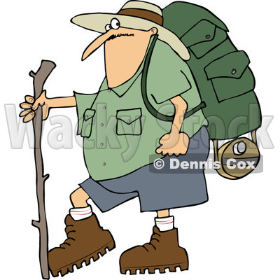 400x400 Man Carrying Hiking Gear And Holding A Leash Which Is Attached