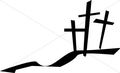 388x237 Three Crosses On A Hill Clipart