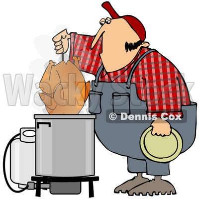 400x400 Free (Rf) Clipart Illustration Of A Hillbilly Deep Frying A Turkey