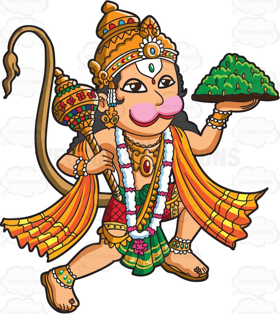 916x1024 The Hindu God Hanuman Cartoon Clipart