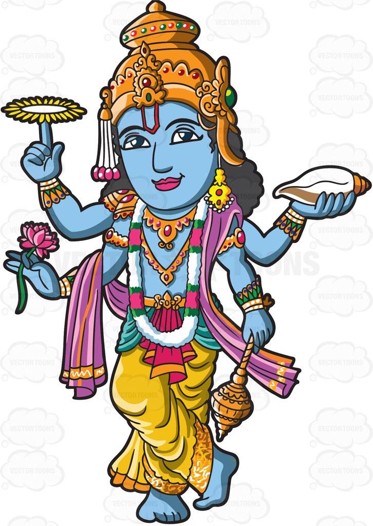 726x1024 The Hindu God Vishnu Cartoon Clipart