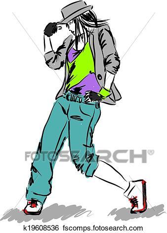 338x470 Clip Art Of Hip Hop Dancer Illustration E K19608536