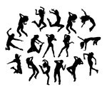 150x129 Happy Break Dance Expression Silhouettes
