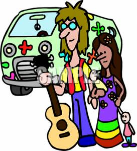 273x300 Hippie Family With A Flower Van And An Acoustic Guitar Clip Art Image