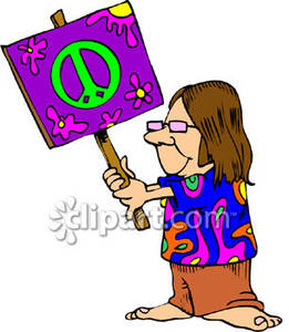 261x300 Hippie Holding A Sign With A Peace Sign On It Royalty Free Clipart