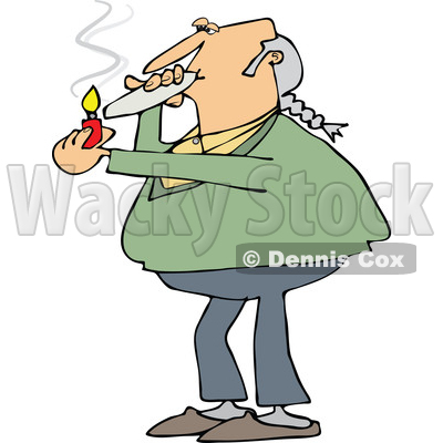 400x400 Of A Cartoon Chubby White Male Hippie Man Smoking A Joint