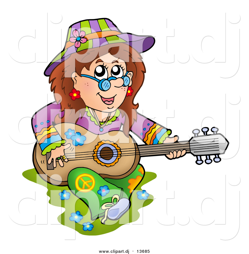 1024x1044 Cartoon Vector Clipart Of A White Hippie Lady Playing A Guitar By