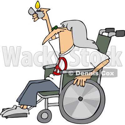 400x400 Free (Rf) Clip Art Illustration Of A Hippie Man In A Wheelchair
