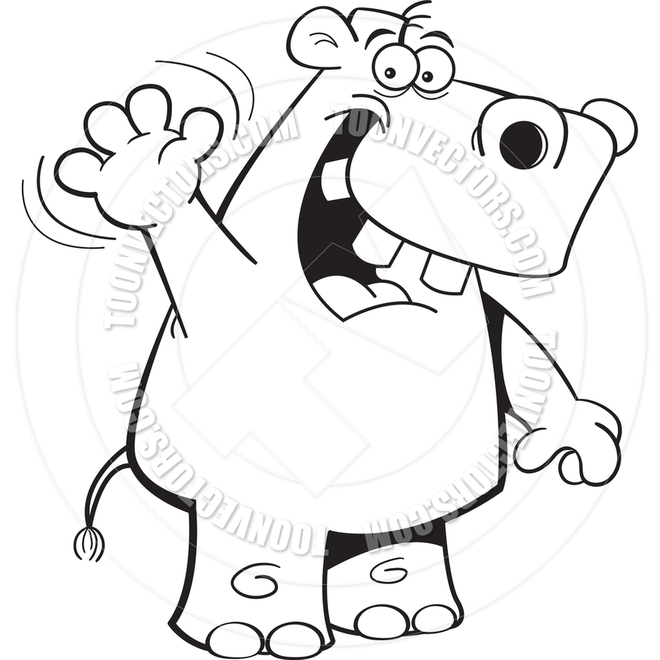 940x940 Cartoon Hippo Waving (Black And White Line Art) By Kenbenner