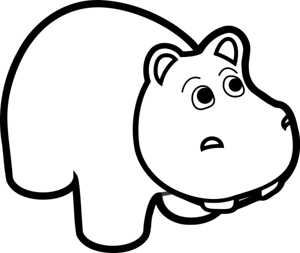 600x506 Hippo Line Art Free vector in Open office drawing svg ( svg
