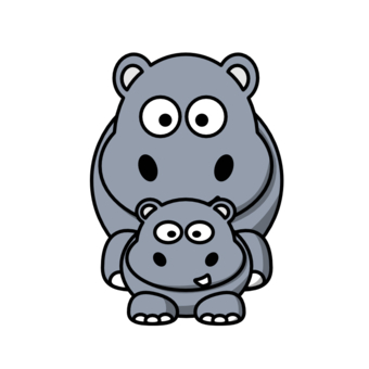 340x340 Hippo clipart mother and baby