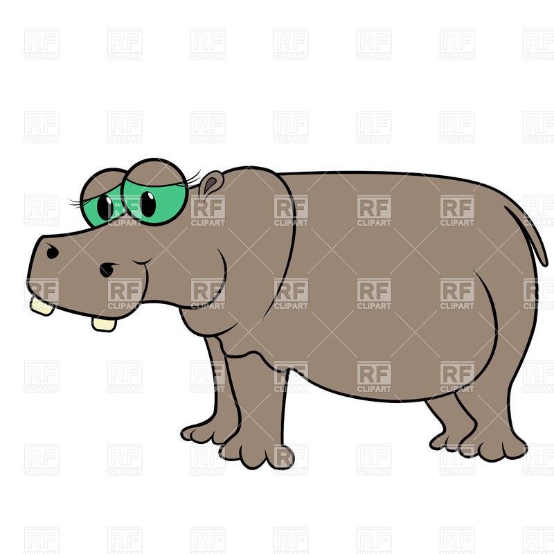 800x800 Sad cartoon hippopotamus Royalty Free Vector Clip Art Image