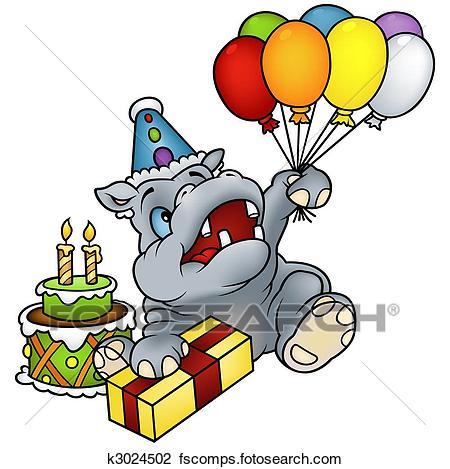450x469 Clip Art of Hippo Happy Birthday k3024502