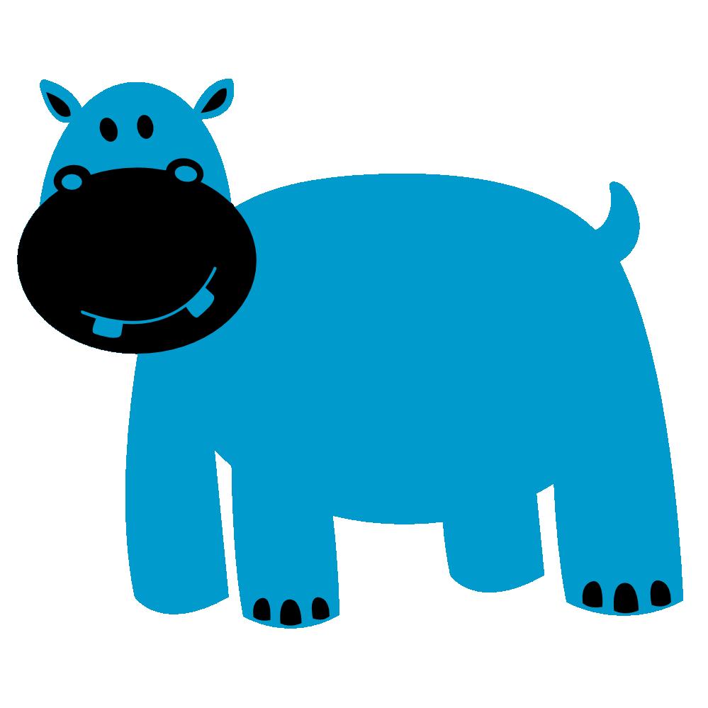 999x999 Clip art of cartoon hippopotamus clipart image