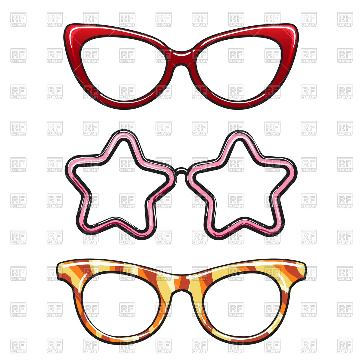 1200x1200 Colorful Hipster Eyeglasses Set On White Background Royalty Free
