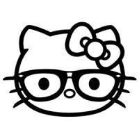 200x200 Hello Kitty Hipster Glasses Die Cut Vinyl Sticker Decal Sticky
