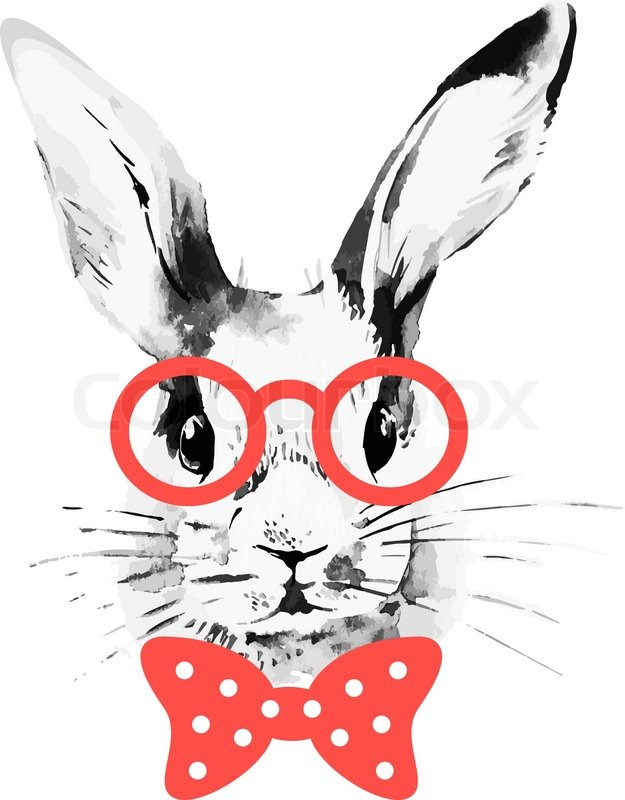 625x800 Hipster Rabbit. Hand Drawn Watercolor Sketch Portrait Stock