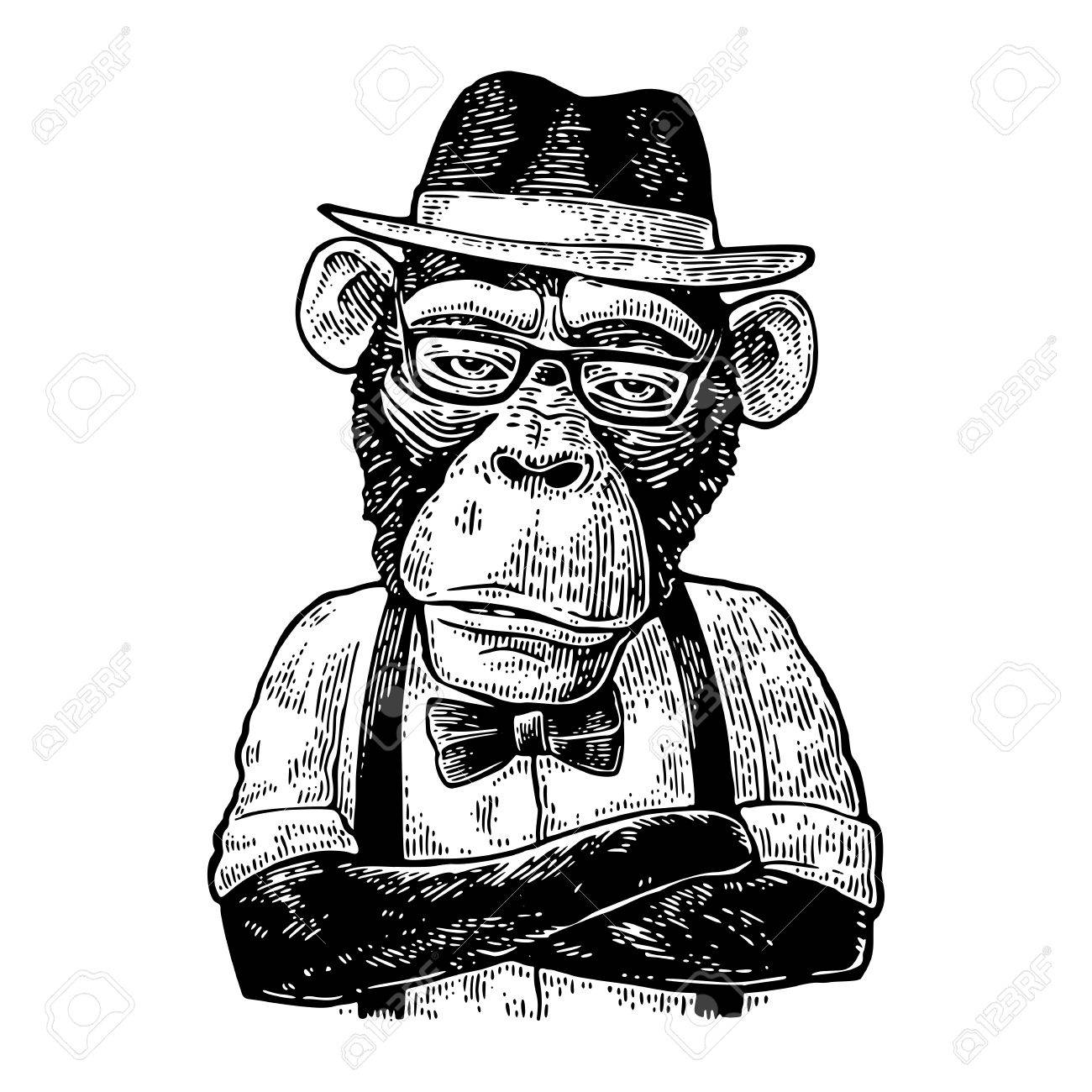1300x1300 Monkey Hipster With Arms Crossed In Hat, Shirt, Glasses And Bow
