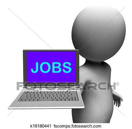 450x442 Clipart Of Jobs On Laptop Shows Unemployment Employment Or Hiring