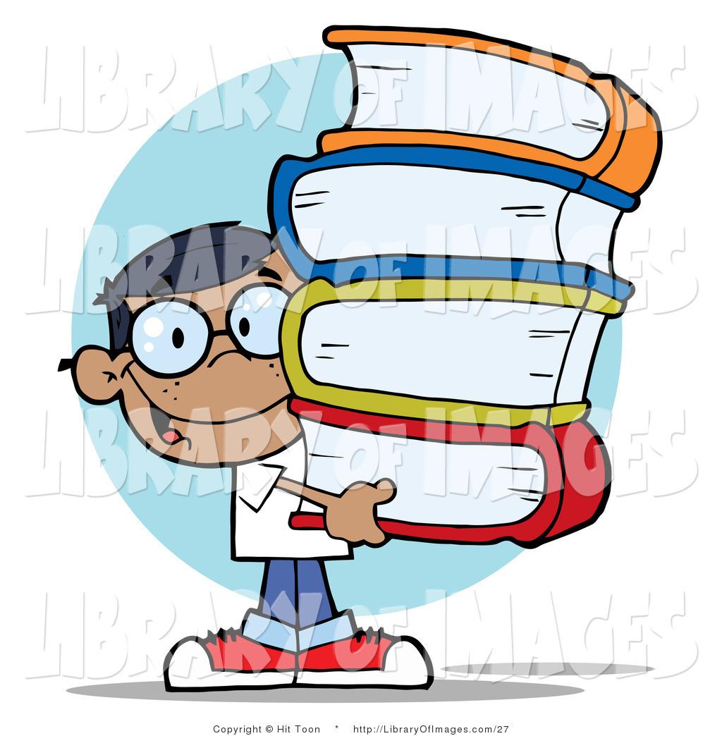 1024x1044 Clip Art A Smart Hispanic School Boy Carrying A Large Stack