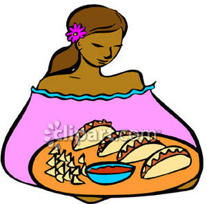 300x295 Hispanic Woman Serving Tacos Royalty Free Clipart Picture