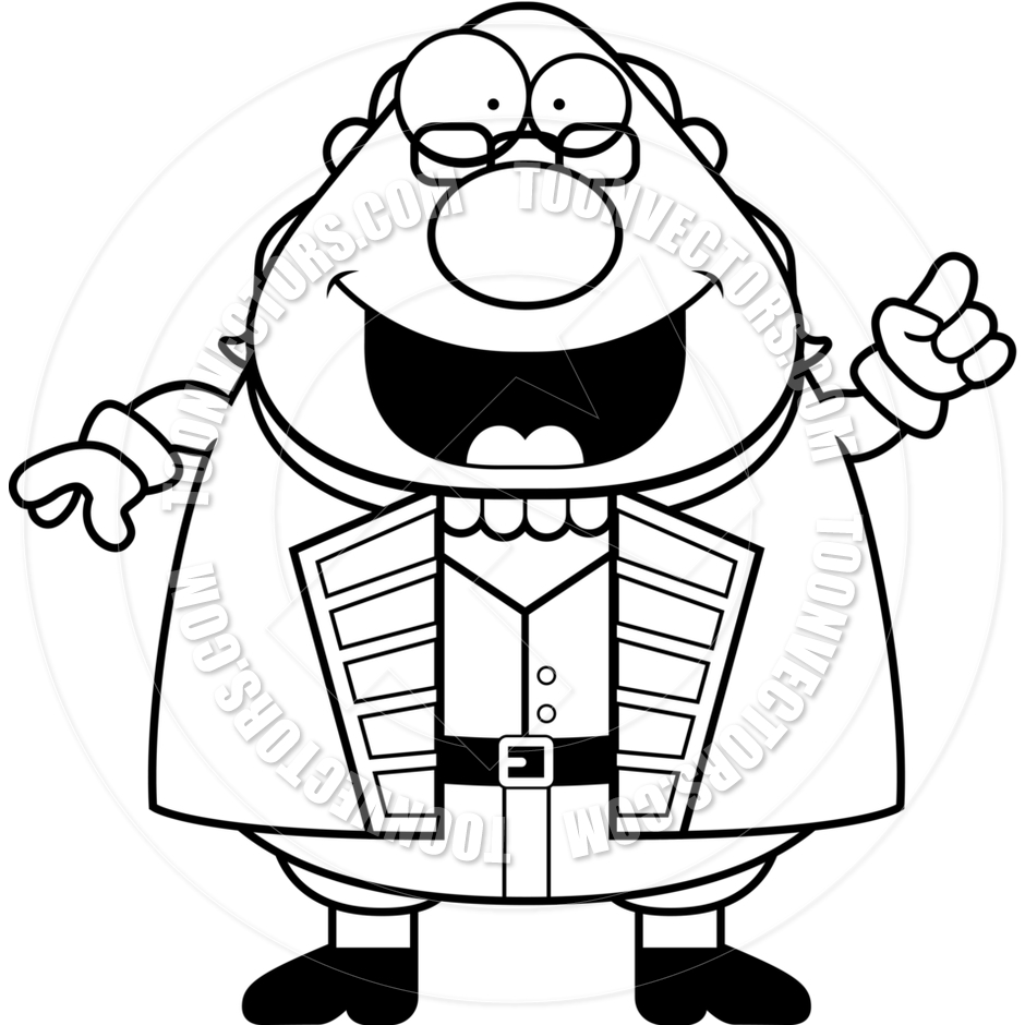 940x940 Cartoon Ben Franklin Idea (Black And White Line Art) By Cory