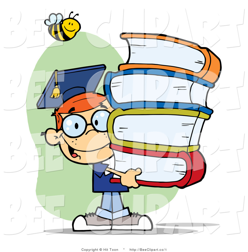 1024x1044 Clip Art Of A Smart School Boy Carrying Books With A Bee By Hit