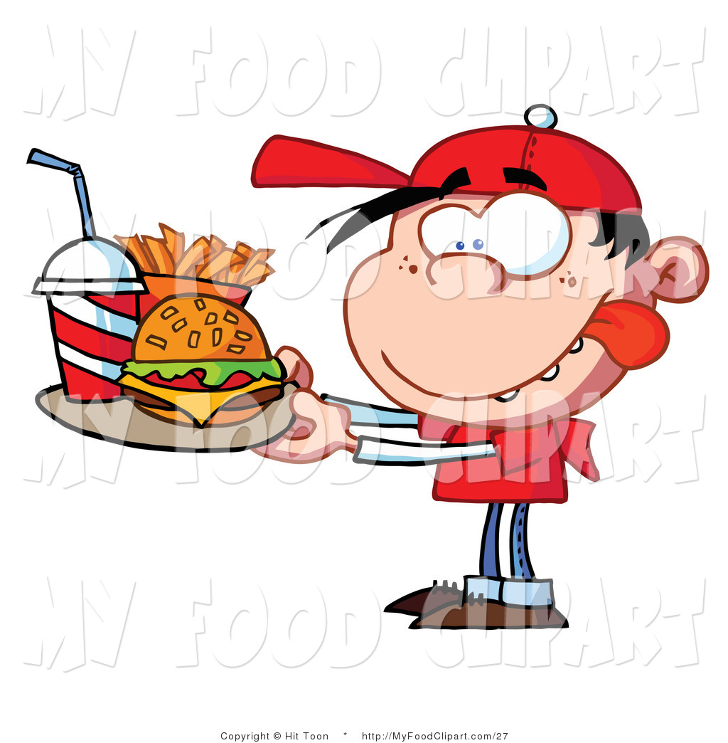 1024x1044 Food Clip Art Of A Boy Carrying Fast Food By Hit Toon