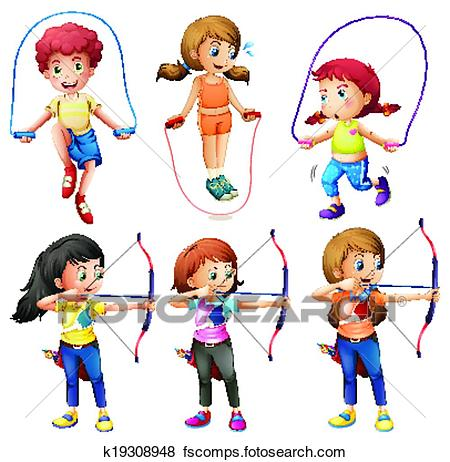 450x462 Clip Art Of Kids With Different Hobbies K19308948